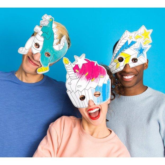 Partymasken zum Ausmalen mit fantastischen Motiven