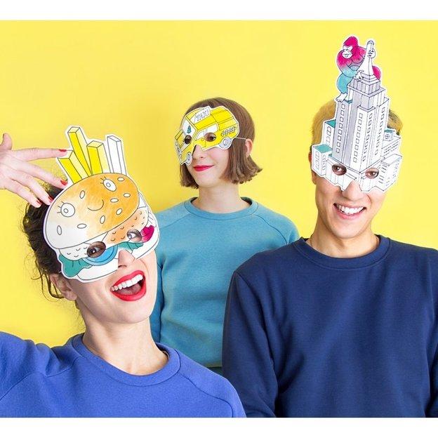 Masques de fête à colorier fantaisie OMY