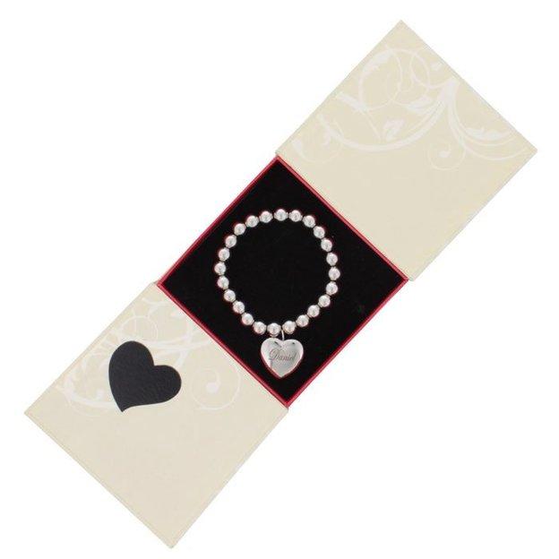 Personalisierbares Kugelarmband mit Herzanhänger
