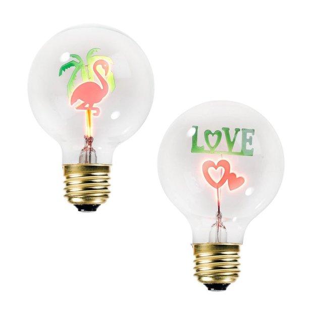 Glühbirne mit dekorativen Motiven