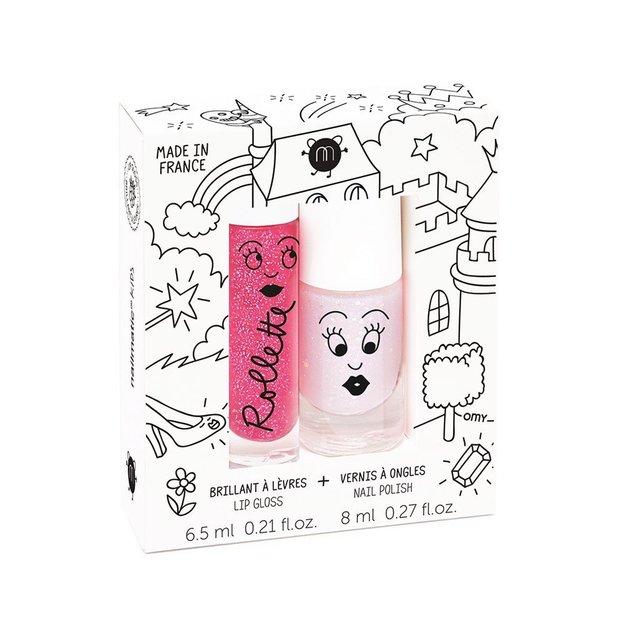 Brillant à lèvres et vernis à ongles pour enfant Nailmatic Framboise pailleté