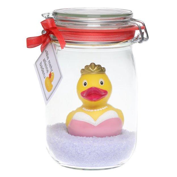 Badeente im Glas mit Badesalz Prinzessin