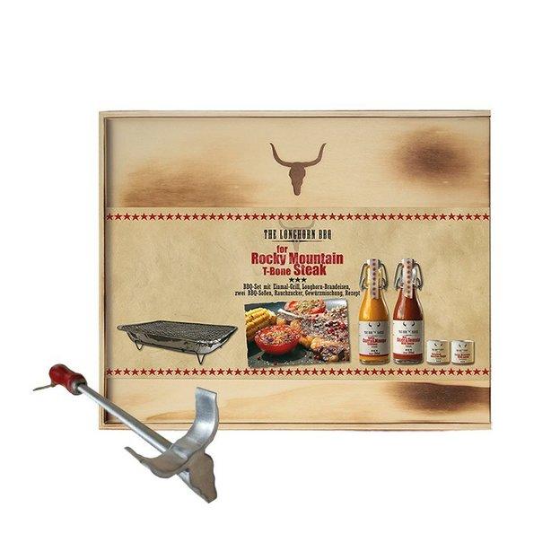 Coffret BBQ Texas Longhorn avec fer à marquer la viande