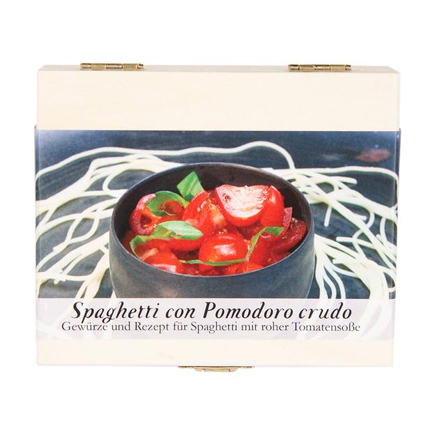 Gewürzbox mit Rezept Spaghetti con Pomodoro crudo