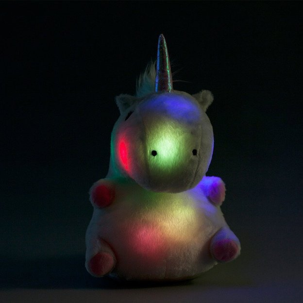 Coussin peluche lumineux Licorne LED