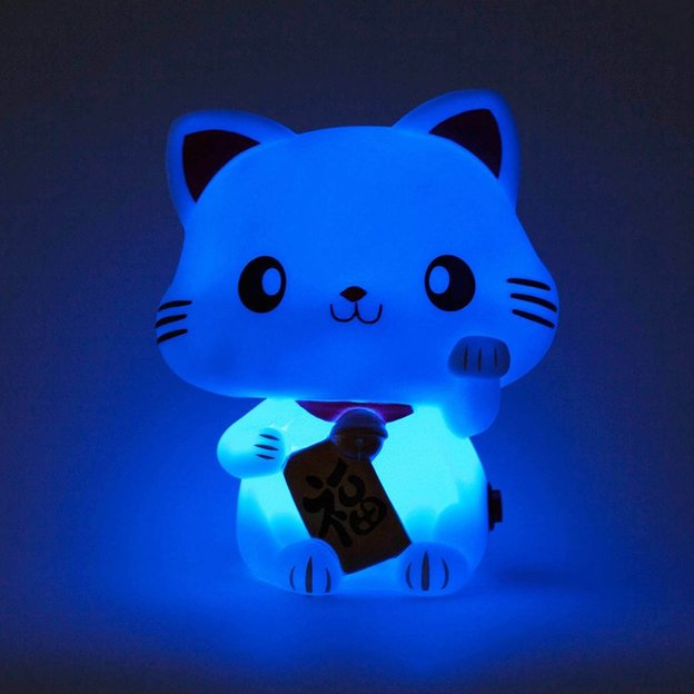 Lampe / veilleuse chat Maneki-neko LED, 6 couleurs