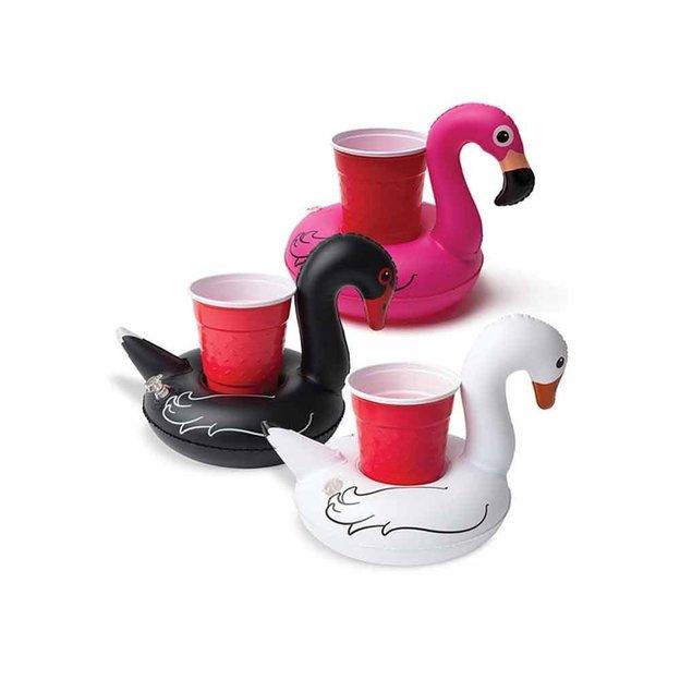 Aufblasbare Getränkehalter Flamingo und Schwan im 3er Set