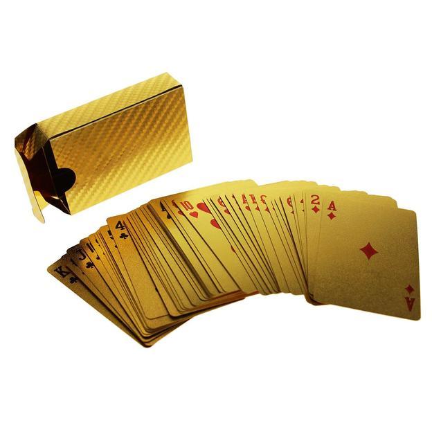 Goldene Spielkarten mit Goldfolien-Zertifikat