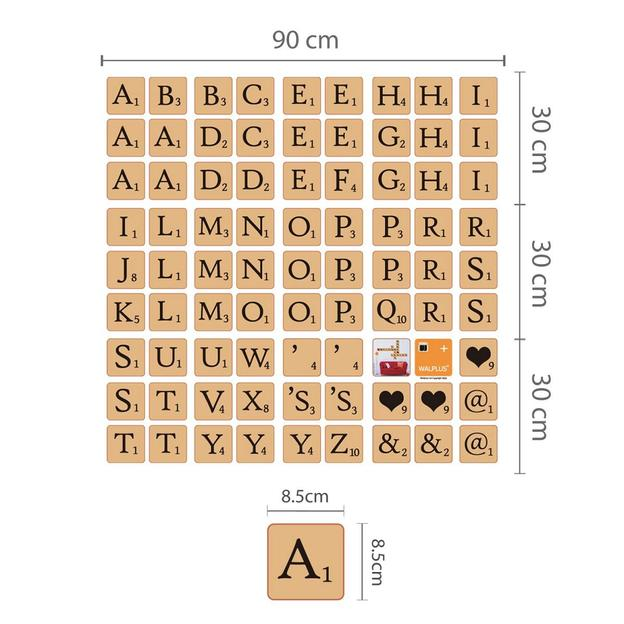 scrabble wanddeko sticker zum selber gestalten. Black Bedroom Furniture Sets. Home Design Ideas