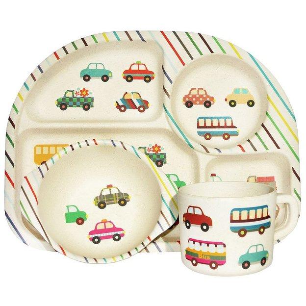 Vaisselle enfant BimBamBoo en fibres de bambou, voitures