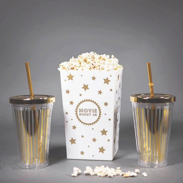 Kinoset Movie Night mit Retro Trinkbecher + Popcorn Tüte