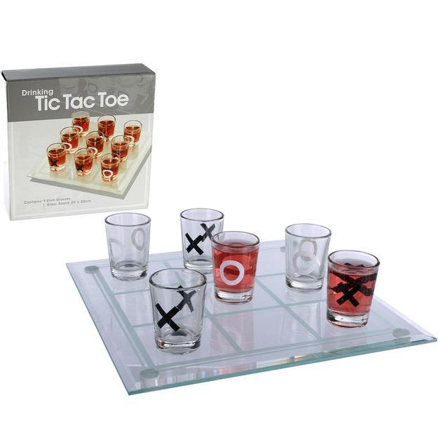 Tic Tac Toe - Trinkspiel mit 9 Gläser
