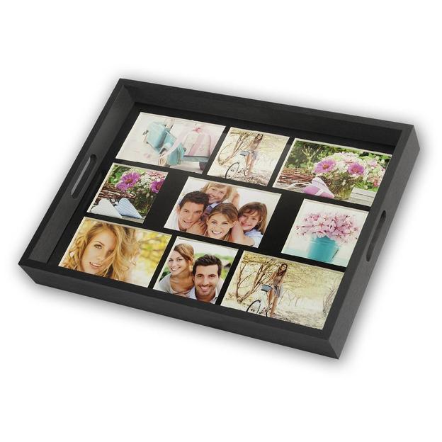 Holz-Tablett individuell gestaltbar mit 9 Fotos