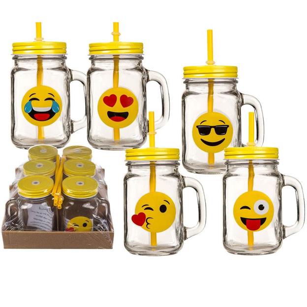 Verres Emoticônes avec pailles, set de 6