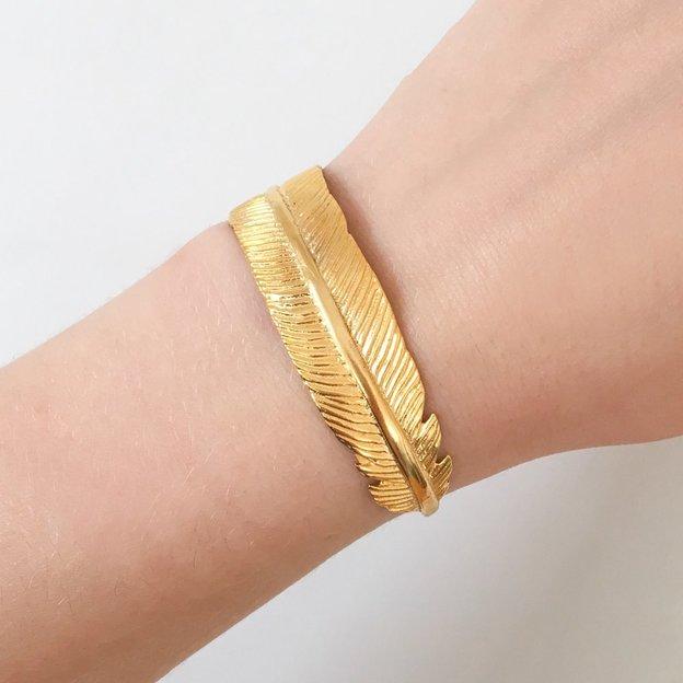 TARA STYLE Armspange Feather Gold verstellbar