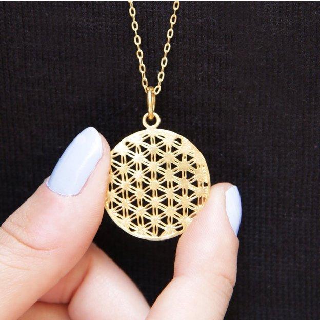TARA STYLE Halskette Blume des Lebens Gold