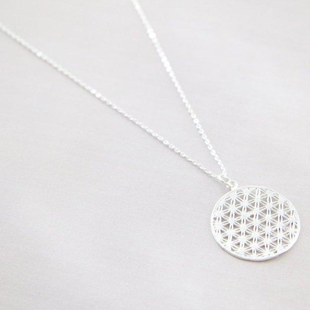 TARA STYLE Halskette Blume des Lebens Silber