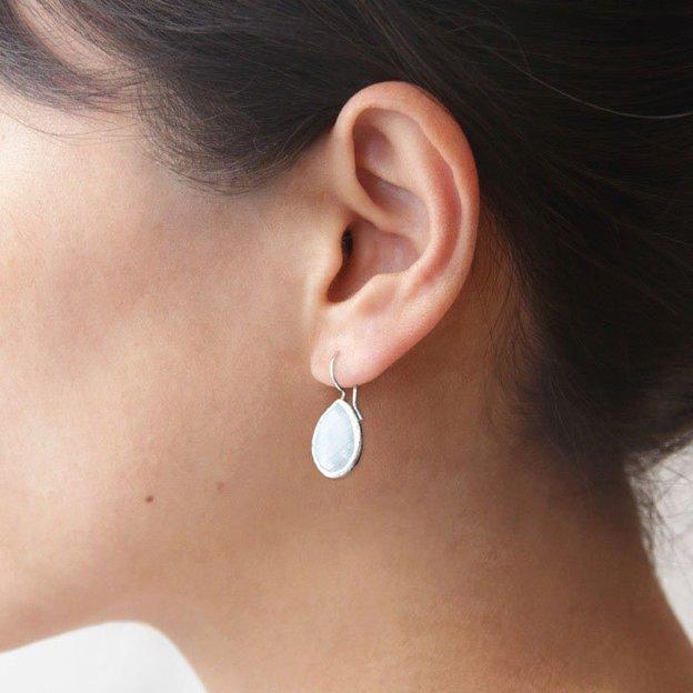 Boucles d'oreilles Single Drop Silber, pierre de lune
