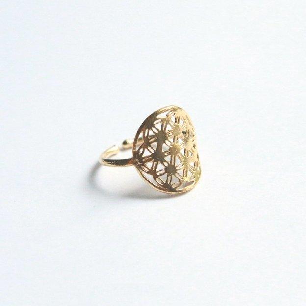 TARA STYLE Fingerring Blume des Lebens Gold