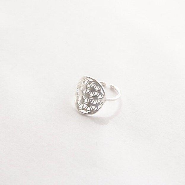 TARA STYLE Fingerring Blume des Lebens Silber