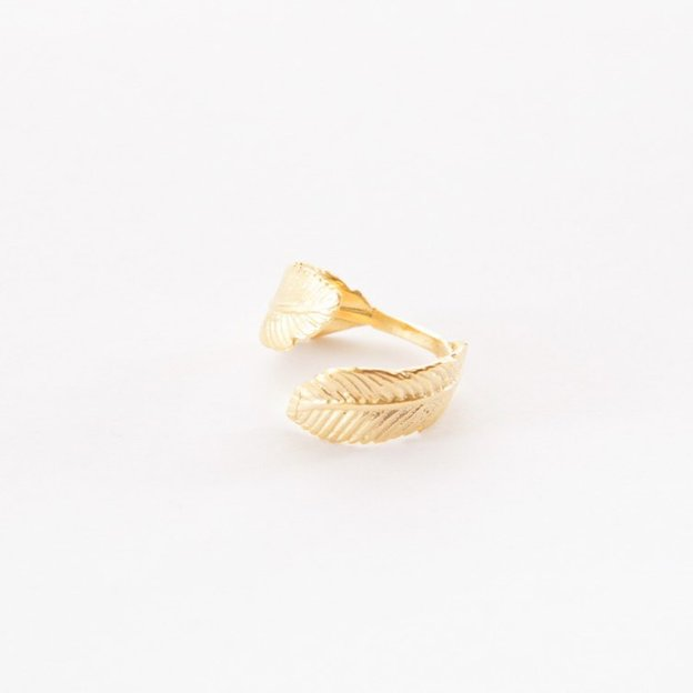 TARA STYLE Fingerring Feather Gold