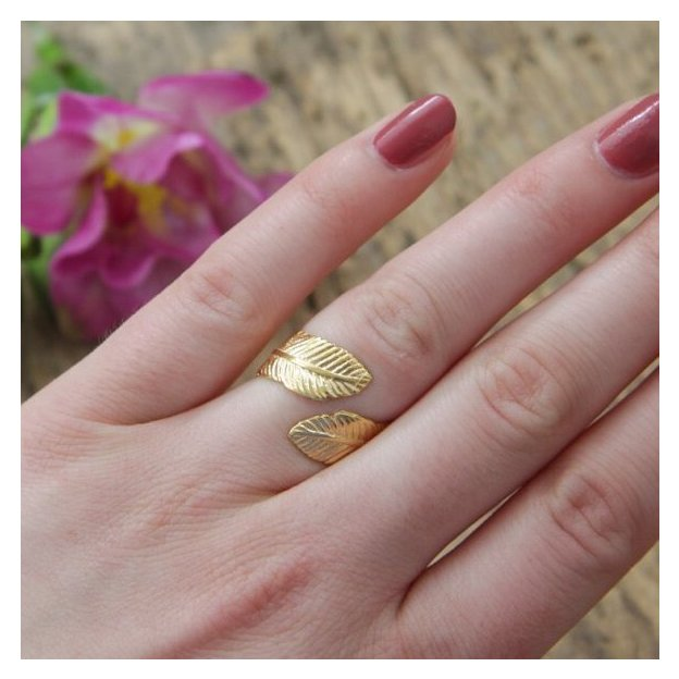 TARA STYLE Ring Feather verstellbar Gold