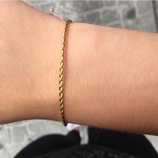 TARA STYLE Armband Karma Bangle Twisted Gold Altrosa
