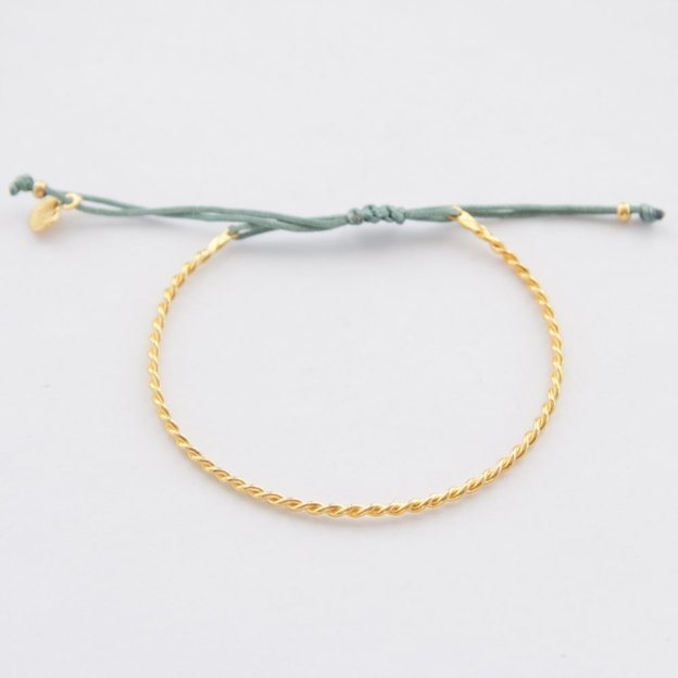 TARA STYLE Armband Karma Bangle Twisted Gold Petrol