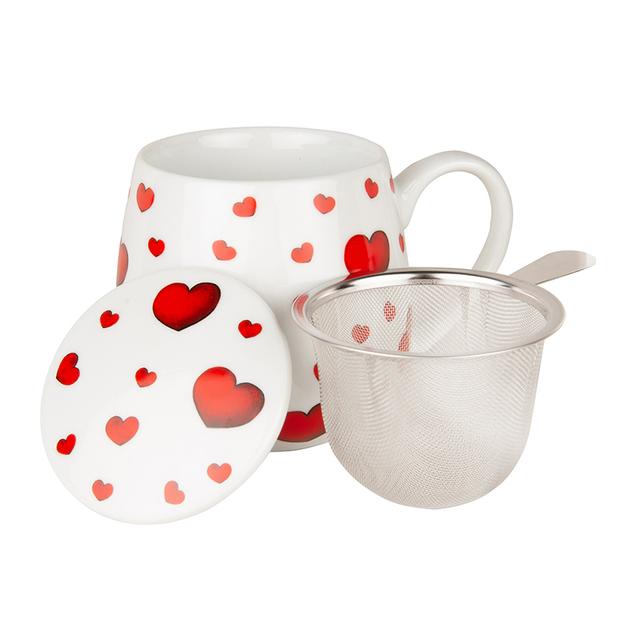 Tasse à thé avec couvercle et infuseur Coeurs