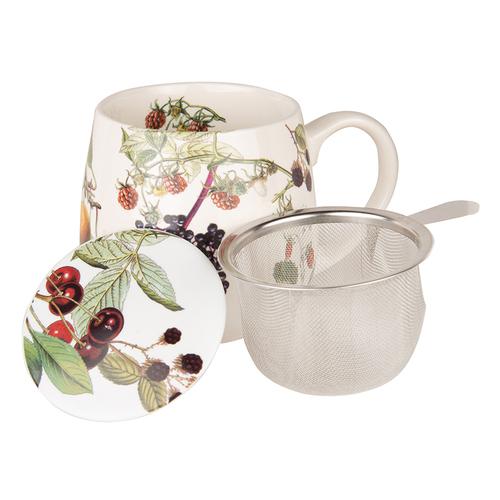 Image of Tee Tasse mit Deckel & Sieb Früchtetee