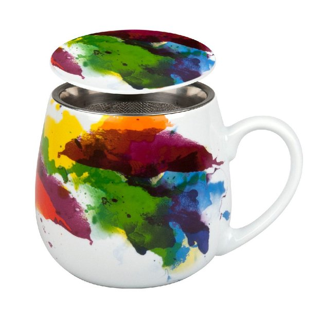 Tee Tasse mit Deckel & Sieb On Colour Flow