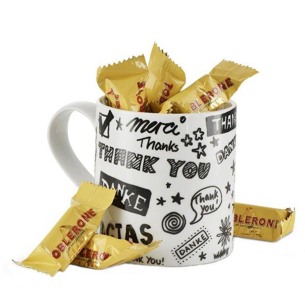 Geschenkset Becher Danke mit Toblerone