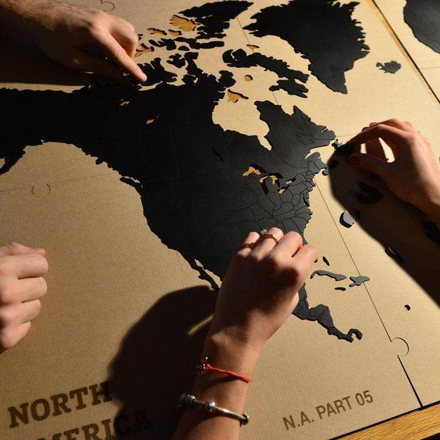 Do it yourself Puzzle-Weltkarte aus Holz