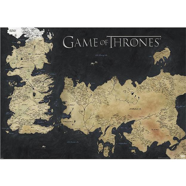 Poster Game of Thrones carte de Westeros et Essos