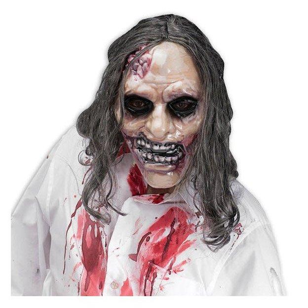 Bleeding Zombie Maske mit Kunsthaaren
