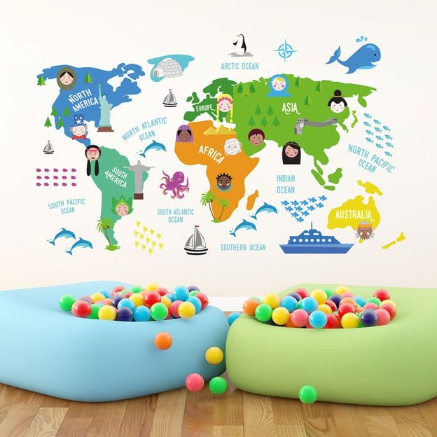stickers muraux carte du monde pour enfant. Black Bedroom Furniture Sets. Home Design Ideas