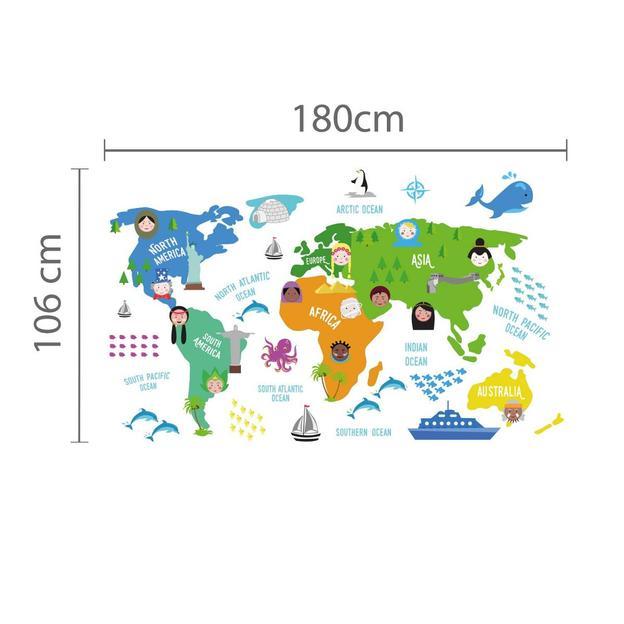 Weltkarte Wandtattoo für's Kinderzimmer
