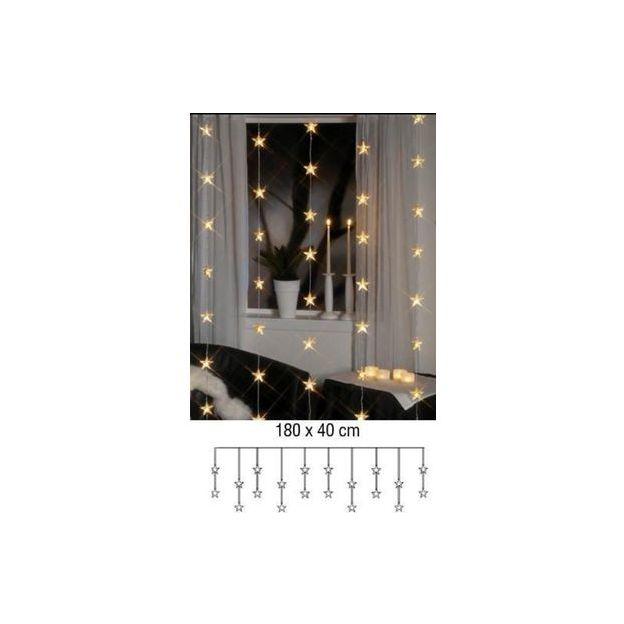 Lichtervorhang Stern, 30 LED-Sterne, indoor 90x120cm, Kabel transparent, ww