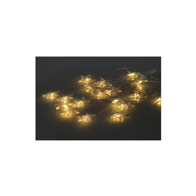 Lichtervorhang Stern, 30 LED-Sterne, indoor 90x120cm, Kabel transparent, ww