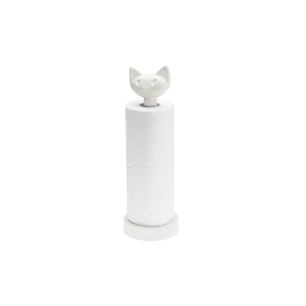 Porte rouleau essuie-tout Miaou de Koziol blanc