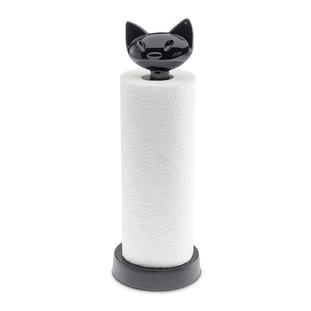 Porte rouleau essuie-tout Miaou de Koziol noir