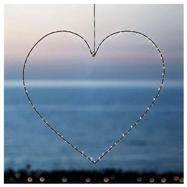 Guirlande lumineuse Sirius LED Heart Liva indoor noir, 64 cm