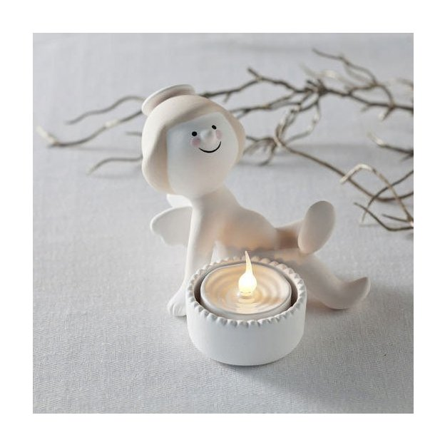 Engel Caroline sitzend indoor, inkl.1x LED Kerze