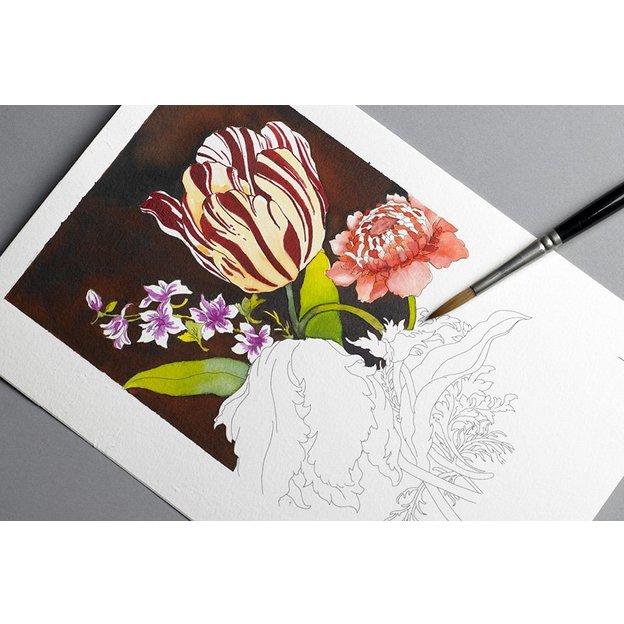 Livre de coloriage adulte carte postale FLORAL STILL LIFE