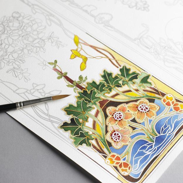 Malbuch für Erwachsene 16 Seiten ART NOUVEAU