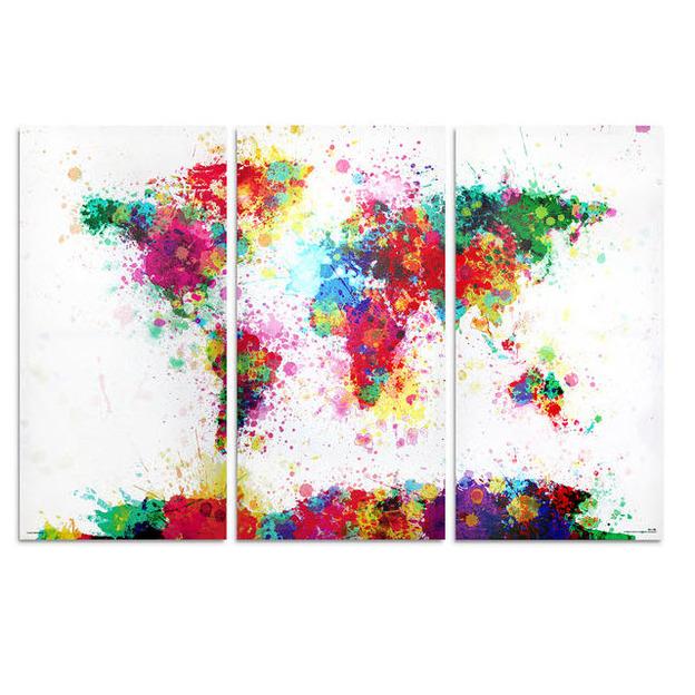 Weltkarte Watercolor Splash Aquarell