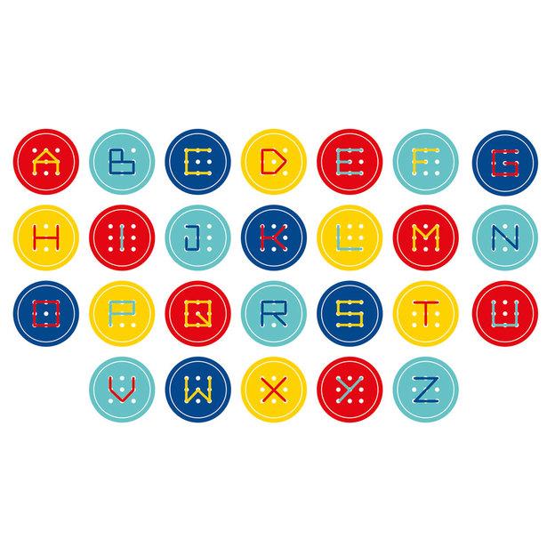Boutons ABC à 9 trous avec aiguille et fils, 4 couleurs