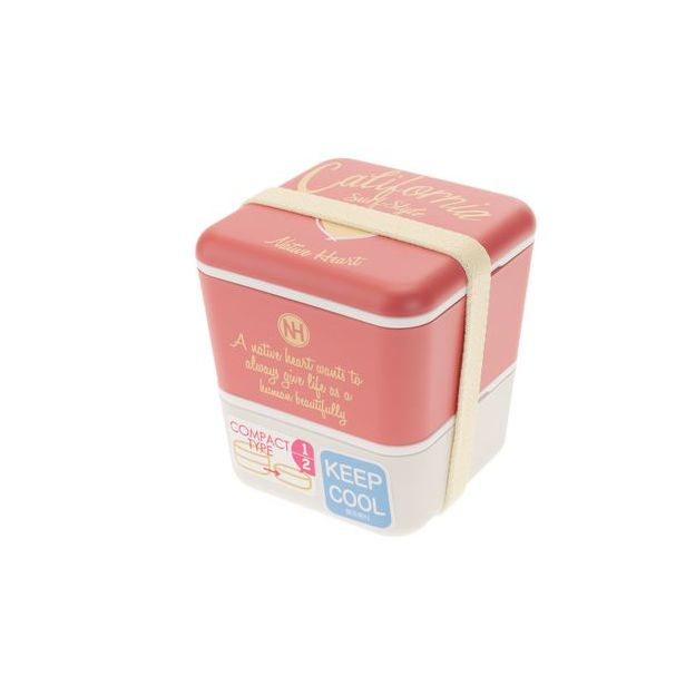 Jamei California Style Bentobox rot Grösse 10x10x11cm,Kunststoff,Volumen 600ml