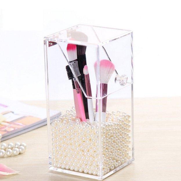 Boîte à pinceaux de maquillage avec perles