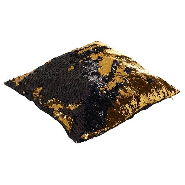 Magische Kissenhülle Wendepailletten Schwarz Gold